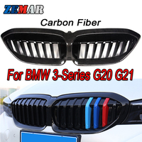 Carbon Fiber/Black Front Bumper Racing Grill Kidney Grilles For BMW G20 G21 G28 3 Series 2019 2020 M Power Sport Accessories