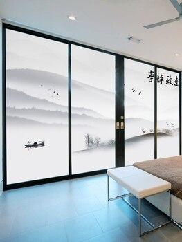 Película de vidrio esmerilado estilo chino baño opaco cocina puerta corredera vidrio...