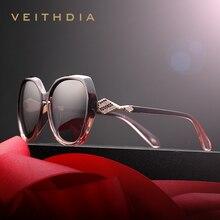 VEITHDIA 女性のサングラス偏光グラデーションレンズの高級女性デザイナーサングラス眼鏡アクセサリー女性のための 3158