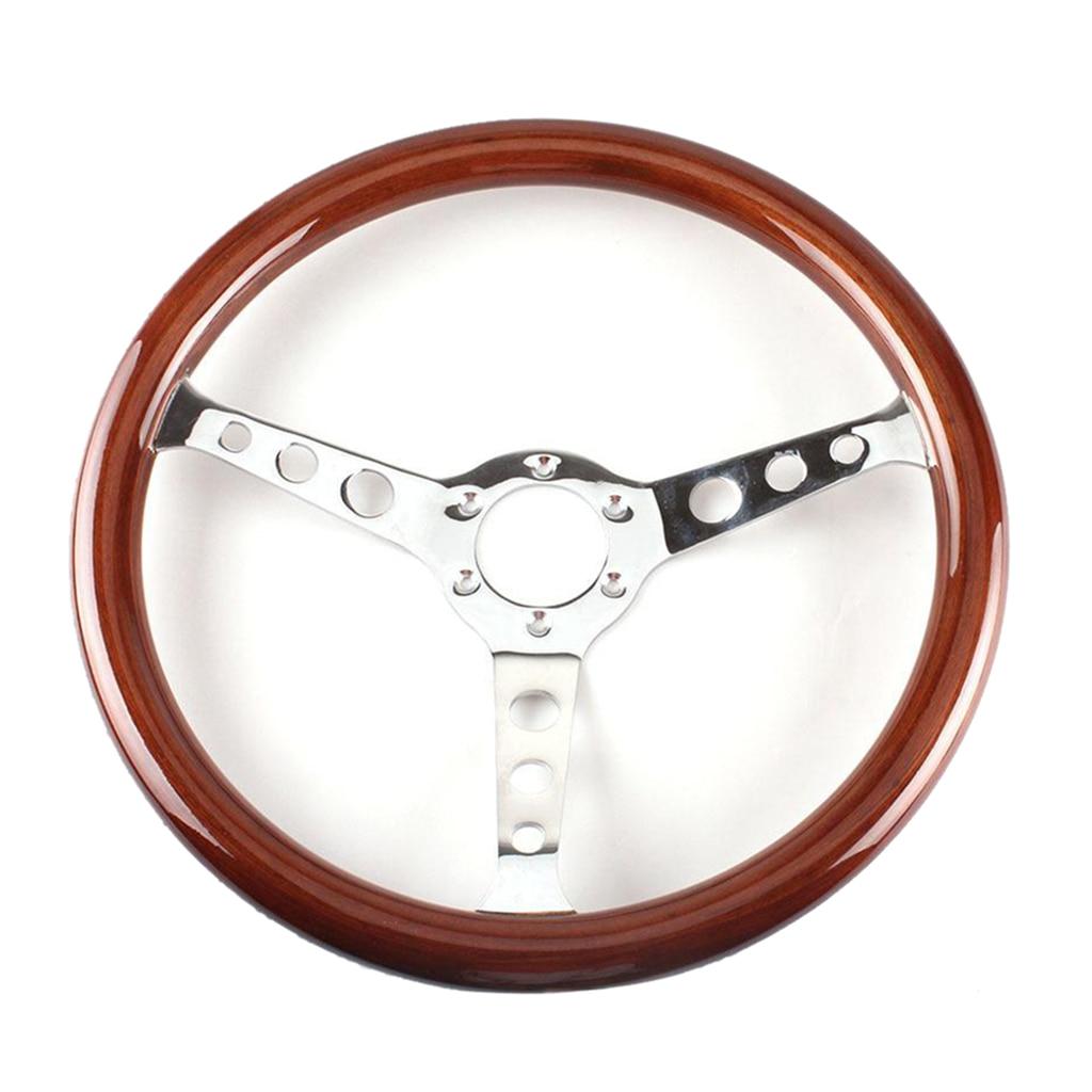 380mm Mahogany Wooden Grain Steering Wheel fits Classic Car Professional