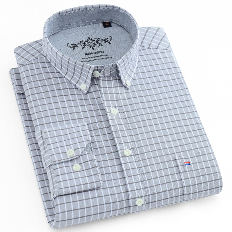 Men's Checkered Button-down Long Sleeve Oxford Shirts Pocket Comfortable Regular-fit Contrast Plaid/Striped Printed Casual Shirt