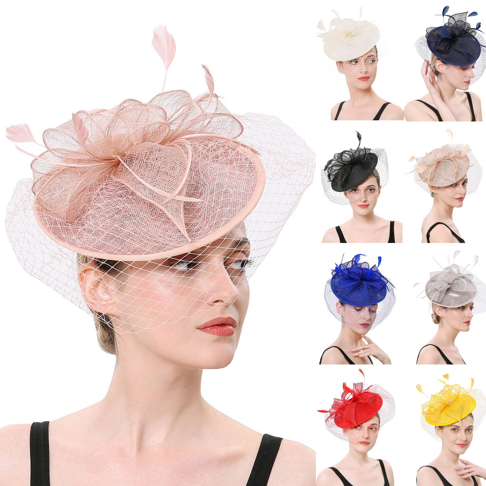 Charming Women Girls Flower Mesh Fascinators Hat Cocktail Party Headband Headpiece Wedding Hat Elegant Girls Ladies Headband