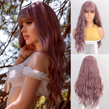 Aisibeauty Women's wig with Bangs Long Wavy Wigs for Women Synthetic Heat Resistant African American Cosplay hair - discount item  32% OFF Synthetic Hair