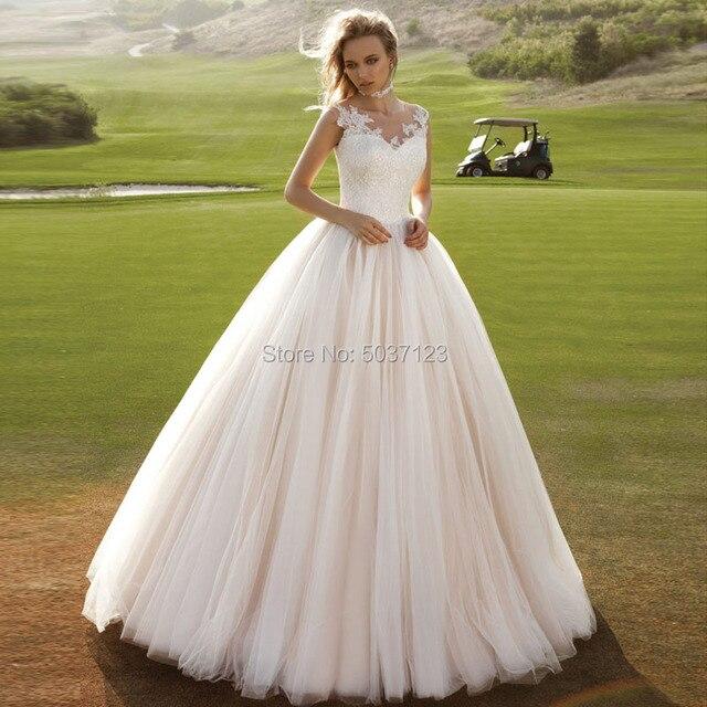 Rosa vestido de Baile de Tule de Casamento Vestidos O Neck Mangas Até O Chão Lace Apliques Botão Vestidos de Noiva Vestido De Noiva Sob Encomenda