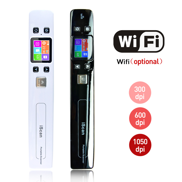Iscan02 휴대용 핸드 헬드 디지털 무선 와이파이 1050DPI LCD 오피스 스캐너 문서 사진 JPG PDF 영수증 A4 미니 핸디 스캐너