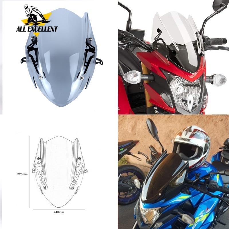 Per Su zu ki GSX-S750 Parabrezza Parabrezza Shield con Staffa GSXS750 GSX-S GSXS 750 2017 2018 2019 Nero trasparente