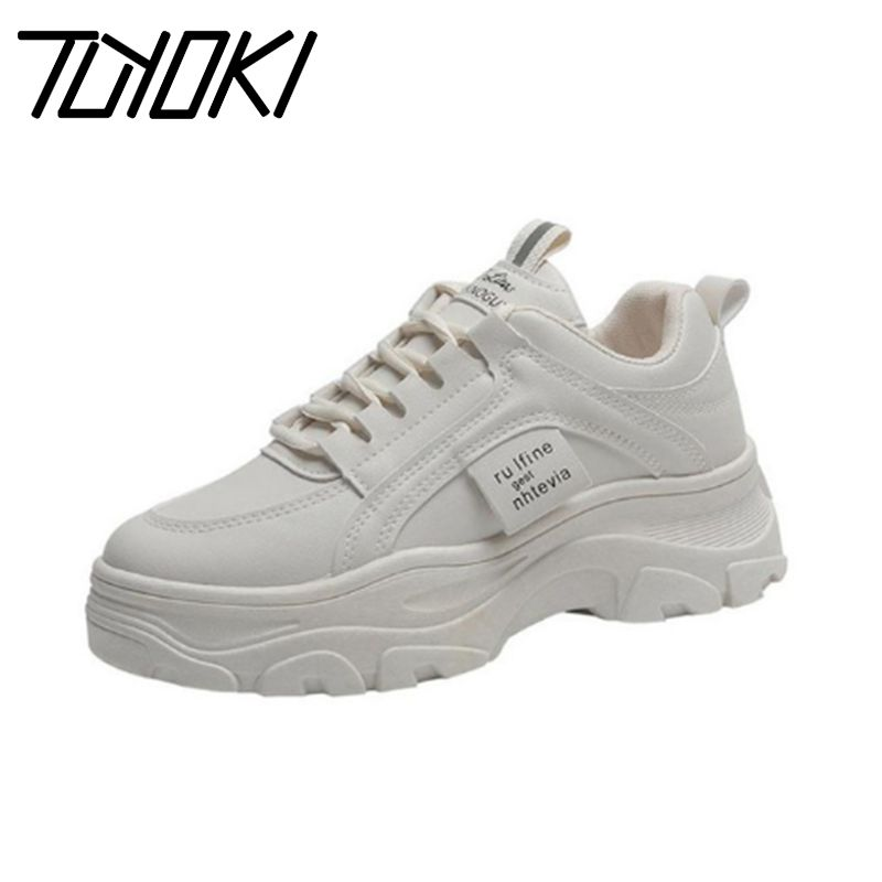 Tuyoki Sneakers Women Vulcanized Shoes Casual Lace Up Thick Sole Platform Player Shoes Fashion Walk Footwear Size 35-40
