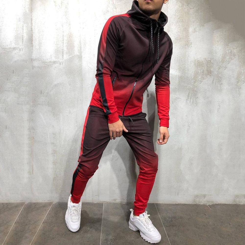 2019 Fashion Men Tracksuit Gradient Color Sport Sweat Suit Hoodie Trousers Pants Set Track Suits Male Men's Sportswear Set