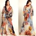 Verão feminino longo praia vestido de banho chiffon cardigans túnica biquíni cobrir roupas grande flor impresso beachwear tamanho grande