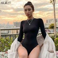 KLALIEN woman cotton high quality sinple black/khaki skinny bodysuit 2020 long s
