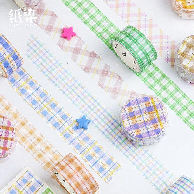 2cm Lattice Stripe Milk Green Tea Washi Tape DIY Scrapbooking Masking Tape School Office Supply Escolar Papelaria
