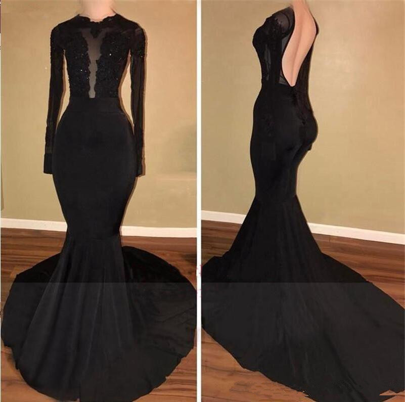 Black   Prom     Dress   2019 Mermaid Long Sleeves Appliques Lace Backless Formal Long   Prom   Gown Evening   Dresses   Robe De Soiree