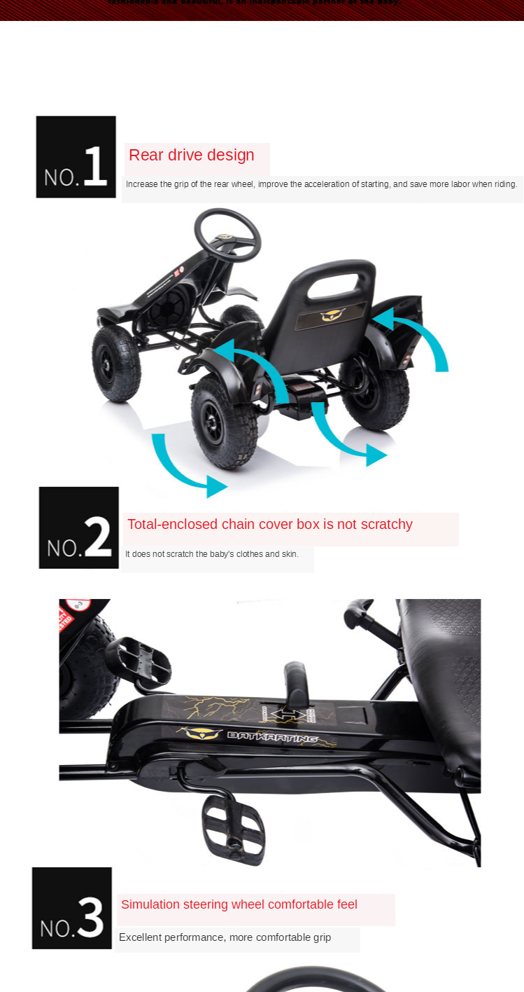 Children's Go-Kart Pedal Mule Cart Can Be Used for Men and Women Baby 4 to 9 Years Old Exercise Bike Bicycle Four-Wheel Pedal