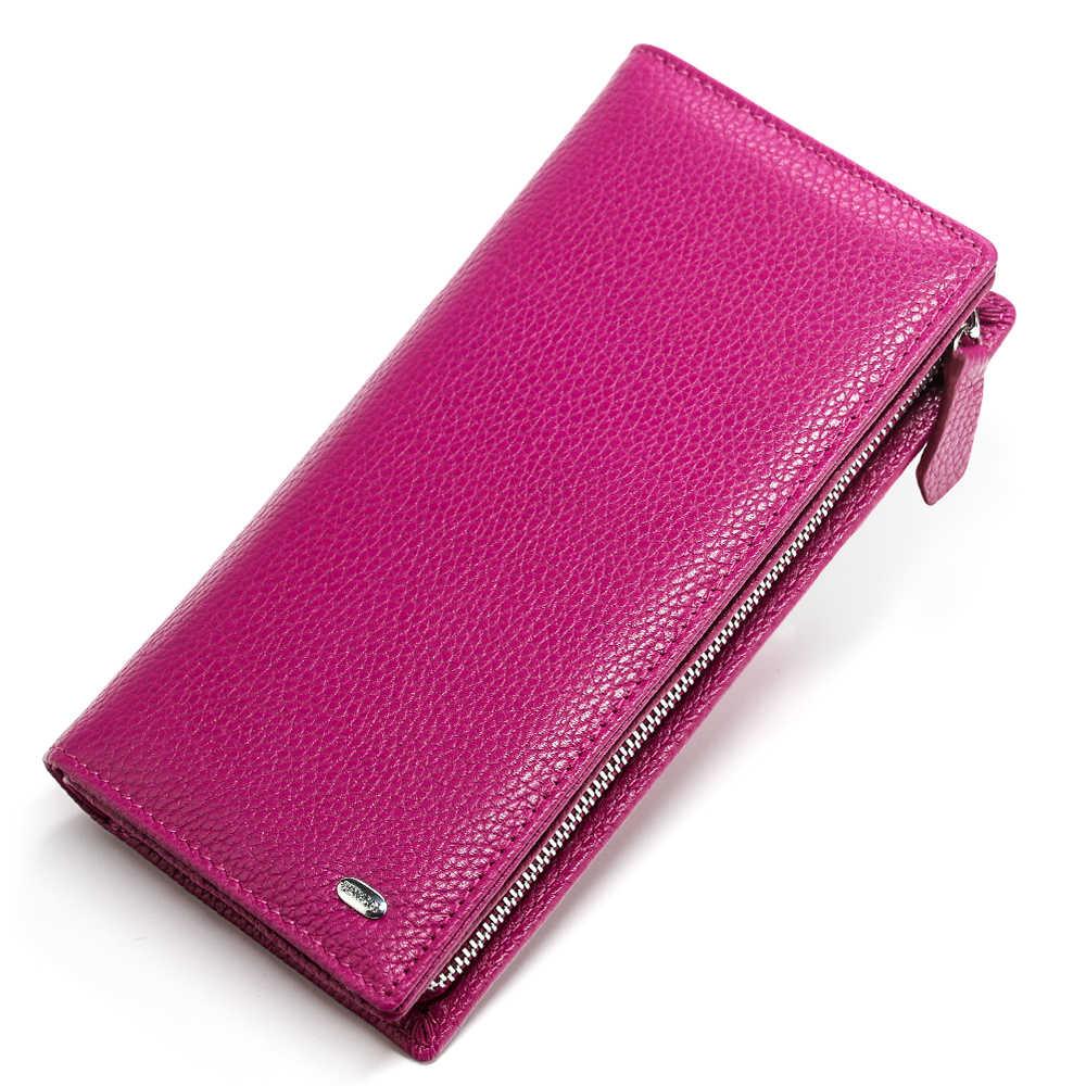 Monedero de cuero auténtico para mujer, cartera larga para mujer, de marca de lujo, tarjetero para mujer