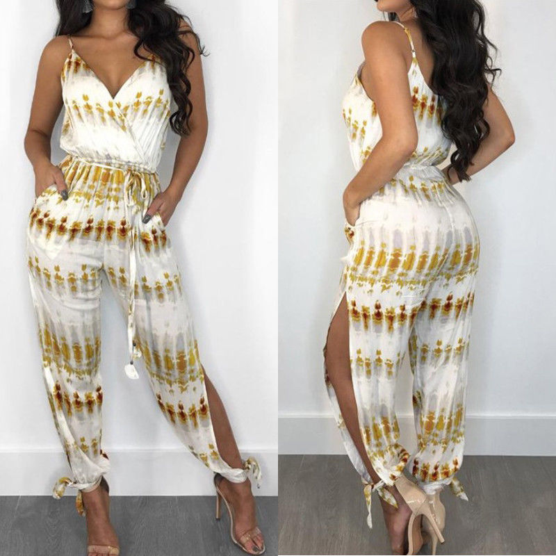 Elegant Fashion Lady Women Holiday Playsuit Romper Long Trousers Loose Jumpsuit Summer Beach Sleeveless V Neck Sexy Bodysuit