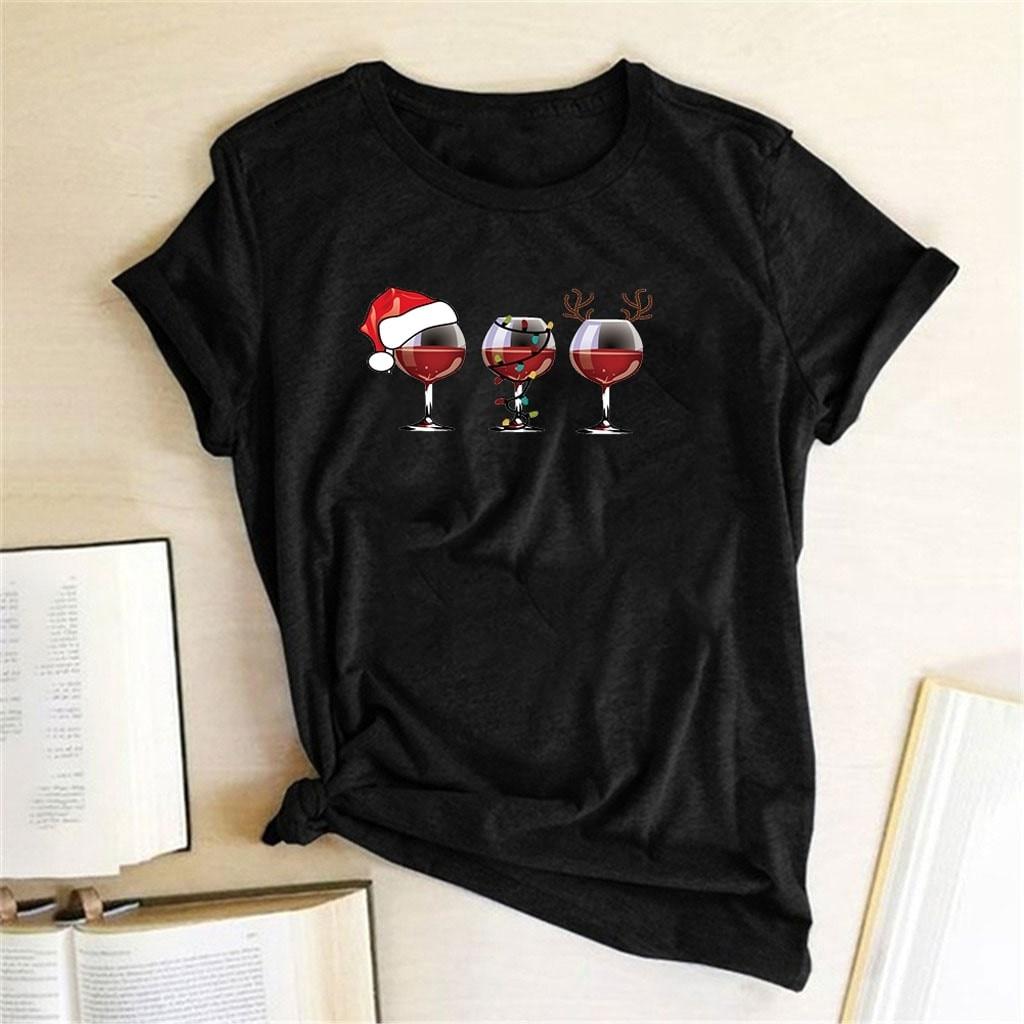 25 # t-shirt style décontracté De noël pour femmes en verre à vin imprimé manches courtes T-shirt col rond haut Ropa De Mujer 2020
