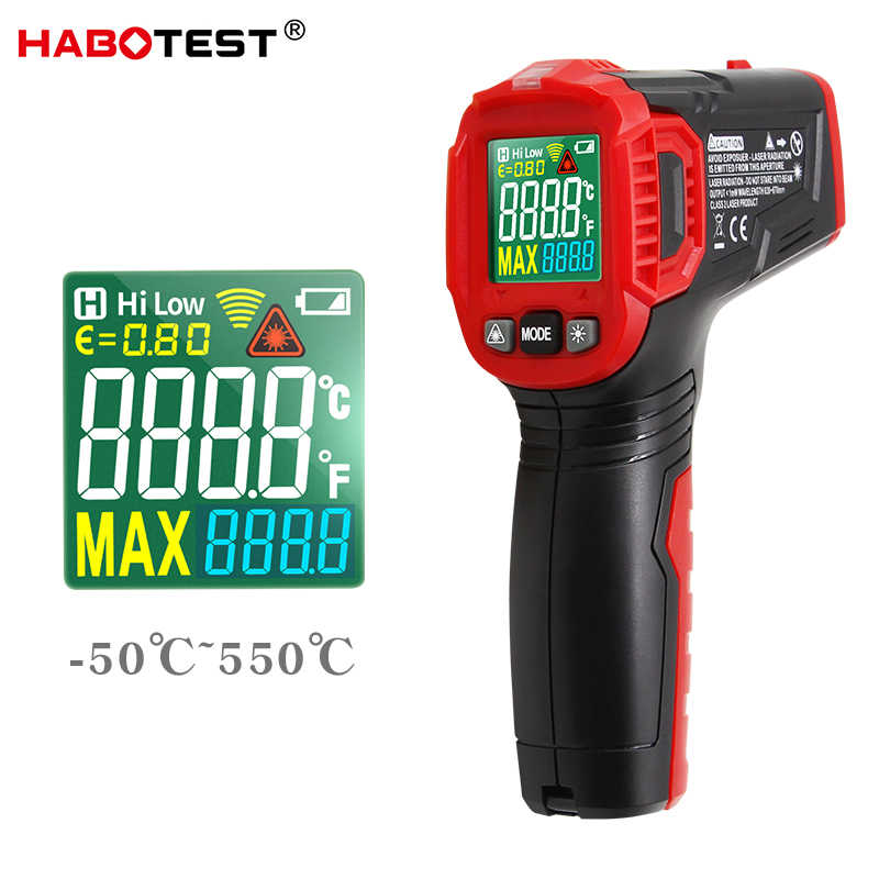 HABOTEST HT650A digitale infrarood thermometer Hygrometer Non contact temperatuur vochtigheid meter meter pyrometer laser thermometre