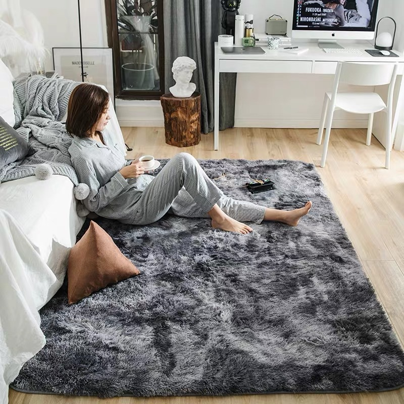 Nordic Motley Solid Pile Plush Carpet Rugs Living Room Fluffy Large Bedroom/Study/Corridor Shaggy Soft Carpets Child Bedroom image
