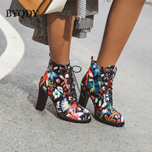 BYQDY Sexy Print Flower Autumn Winter Boots Block High Heels Gothic Lace Up Ankle Motorcycle Riding Shoes Woman Plus Size
