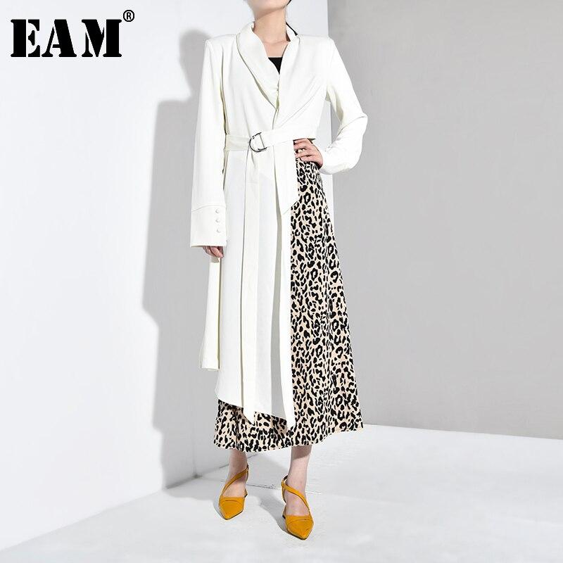 [EAM] Loose Fit Asymmetrical Cut White Jacket New Lapel Long Sleeve Women Belt Coat Fashion Tide Spring Autumn 2020 JX6000