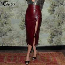 2021 Fashion PU Leather Skirts Women Autumn Sheath Midi Skirt Celmia Sexy High Waist Split Casual Solid Bodycon Long Skirt 5XL 7