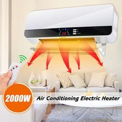LED Display Wall Mounted Air Conditioner Electric Heater Fan Household PTC Remote Control Timer Waterproof 3 Gear Warmer 220V