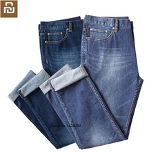 YOUPIN DMN male stretch straight Jeans elasticity Comfortable Breathable Business casual traveler solid jeans men Smart home