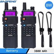 2個baofeng UV 5R 8ワット双方向ラジオハイパワーバージョン10キロ長距離デュアルバンド携帯ラジオトランシーバーcbラジオ
