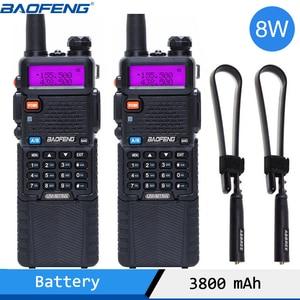 Image 1 - 2 sztuk Baofeng UV 5R 8W Two Way Radio o dużej mocy W wersji 10km długi zasięg dwuzakresowy Radio przenośne Walkie Talkie CB Radio