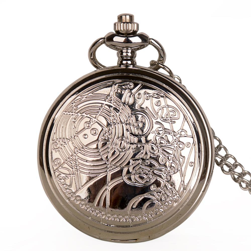 Pocket Watch Retro Vintage Smooth Steampunk Doctor Silver Quartz Alloy Necklace 37.5cm FOB Chain Mens Women Child часы карманные