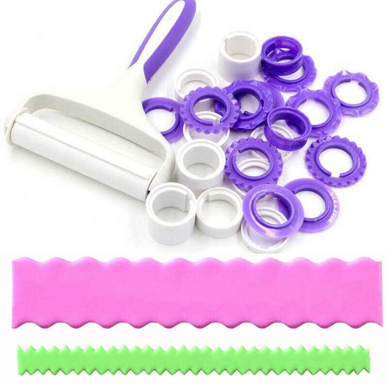 2019 mode Marke Neue Heiße Fondant Streifen Band Cutter Sugar Kuchen Rolling Pin Embosser Gerollt Set Werkzeug