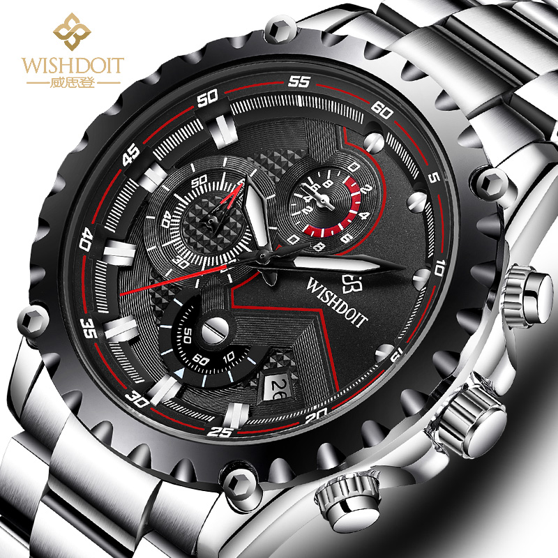 WISHDOIT Men's Watch Top Brand Luxury Stainless Steel Luminous Waterproof Quartz Watch Men's Fashion Chronograph Sports Watch 1