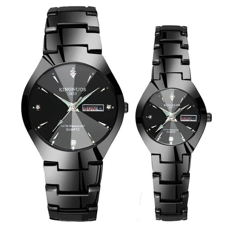 Часы для влюбленных Роскошные Кварцевые наручные часы для мужчин и женщин Hodinky Dual Calender Week steel Saat Reloj Mujer Hombre парные часы - Цвет: Couple Black Black