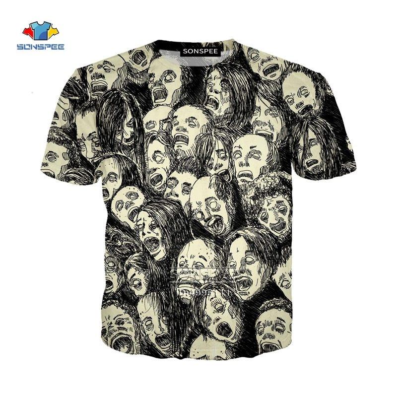 SONSPEE Japanese Junji Ito Horror Manga Comics 3D Print Men Female Tshirt Summer T-shirt Casual Harajuku Tee Tops Streetwear