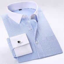 الرجال الفرنسية Cuffs مخطط فستان قمصان واحدة التصحيح جيب الأعمال الرسمية العادية تيشيرت ضيق بأكمام طويلة قميص (وشملت أزرار أكمام)dress shirtfrench cufflinksbusiness shirt