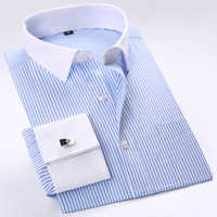 Men's French Cuffs Striped Dress Shirts Single Patch Pocket Formal Business Regular-fit Long Sleeve Shirt (Cufflinks Included)