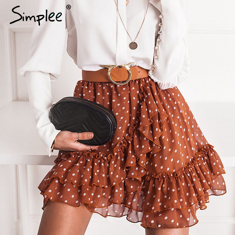 Simplee Elegant Polka Dot Print Women Mini Skirt Streetwear Ruffled A-line Skirt Female Spring Summer Holiday Ladies Skirts 2020
