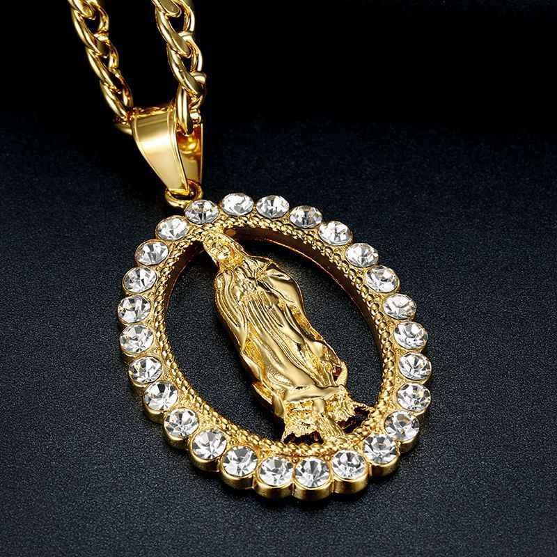 Hip Hop Iced OUT บิ๊ก Virgin Mary สร้อยคอจี้สแตนเลสสำหรับผู้หญิงคริสเตียนเครื่องประดับ Madonna XL1145