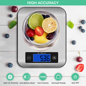 Image 3 - AIRMSEN 22LB/10KG אלקטרוני מטבח בקנה מידה מזון דיגיטלי נירוסטה ביתי במשקל בקנה מידה LCD מדידת כלים