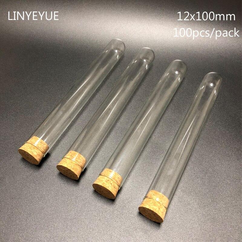 100 pièces/pack 12x100mm laboratoire u-forme fond verre tube à essai avec bouchon en liège laboratoire verrerie verre tube avec bouchon