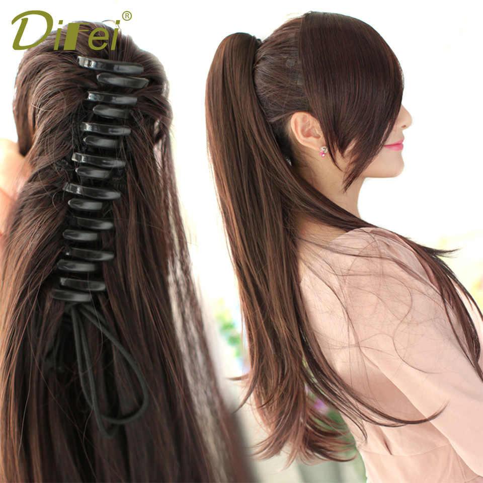 Difei longo reta rabo de cavalo mulher garra no rabo de cavalo extensões de cabelo resistente ao calor sintético cordão hairpieces