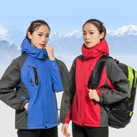 Autumn Winter Outdoor Hiking Thick Rain Jacket Coat Hooded Breathable Waterproof Windproof Fluffy Climbing Coat Outwear