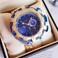 Totalmente Funcional de Design Da Marca de Luxo Mens Relógios De Ouro de Quartzo Relógios de Ouro Relógios de Pulso Dos Homens Para O Sexo Masculino Relogio Dourado Masculino