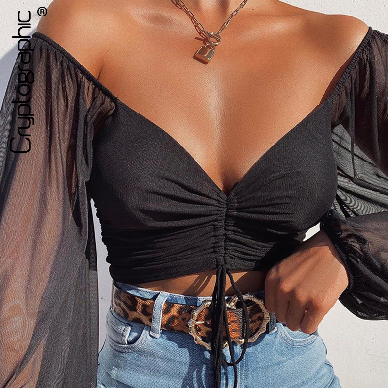 Cryptographic Drawstring Ruched Sexy Blouse Women Puff Sleeve Off Shoulder Sheer Female Tops and Blouses Shirts Short Streetwear(China)