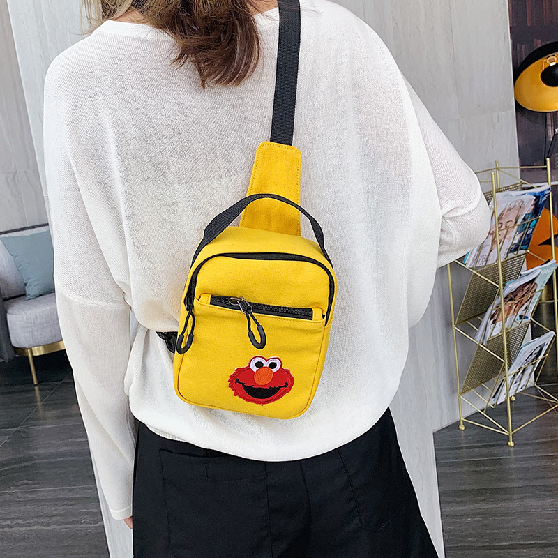 2019 New Style Cartoon Cute Sesame Street Canvas Bag Disco Dancing Online Celebrity Casual School Bag Crossbody Bag Chest Pack