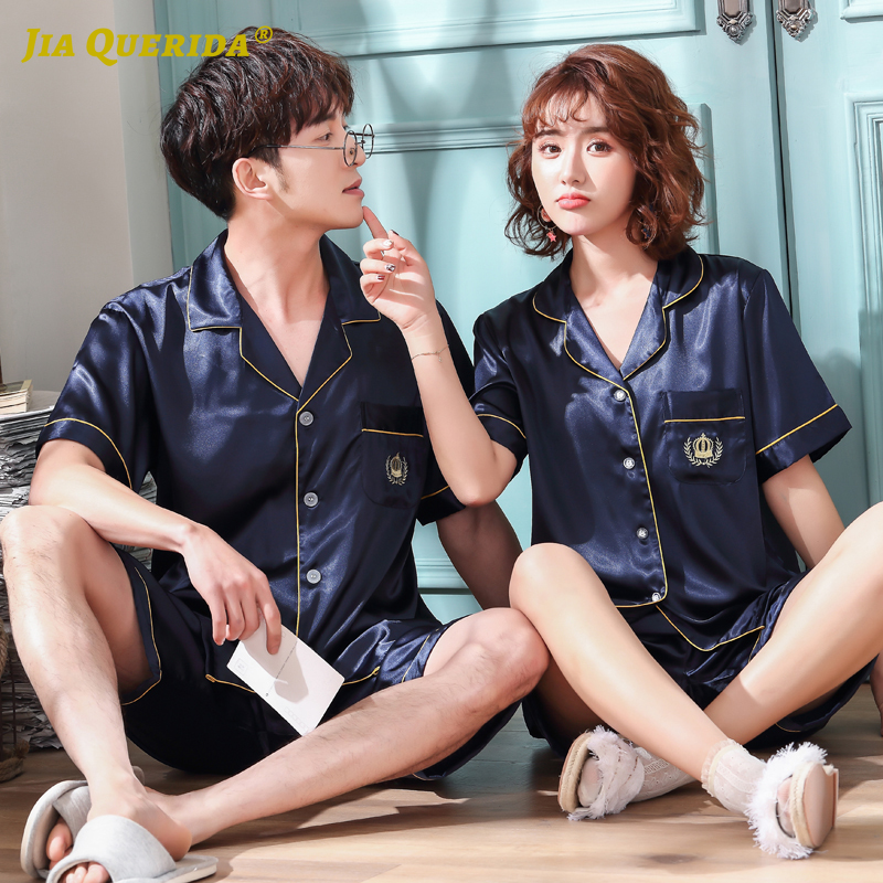 New Imitated Silk Blue Men And Women Homesuit Homeclothes Fashion Style Short Sleeve Short Pants Sleepwear Turn Down Collar