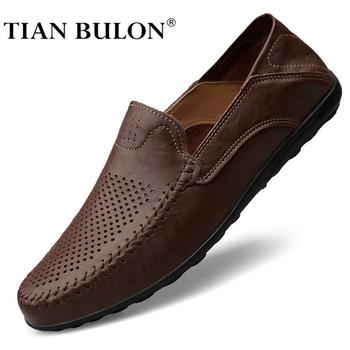 Oryginalne skórzane buty męskie letnia luksusowa marka 2020 wygodne wsuwane formalne mokasyny męskie mokasyny włoskie czarne męskie buty do jazdy samochodem tanie i dobre opinie TIAN BULON Prawdziwej skóry Skóra bydlęca RUBBER Italian mens shoes brands erkek ayakkabi zapatos de hombre Slip-on Pasuje prawda na wymiar weź swój normalny rozmiar