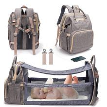 LEQUEEN USB Diaper Bag Crib Baby Bed Backpack for Mom Mummy Maternity Wet Bag Waterproof  Baby Pregnant Bag