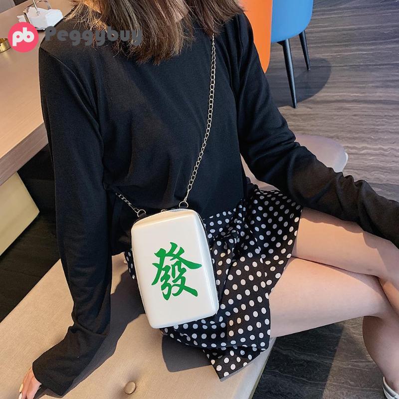 2019 New Women Mahjong Printing Shoulder Bags Pu Leather Designer Messenger Bags Girls Cute Crossbody Bags Purses And Handbags