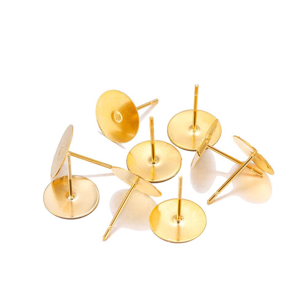 50pcs 3 4 5 6 8 Mm Gold Stainless Steel Earring Stud Base Cabochon Cameo Settings Findings For Jewelry Making Earpins Supplies